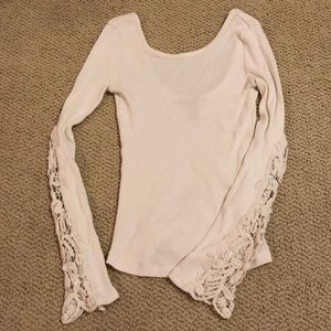 Forever 21 small cream embroidered sleeve top